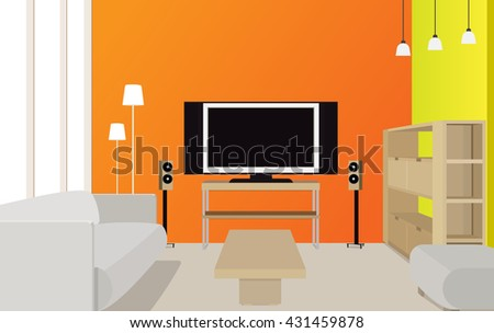 Original interior design of luxury living room background. Furniture: cupboard with bookshelves, plasma flat screen TV,  sofa, table, lamps, seat, speakers, window. Vector 3d style illustration. - stock vector