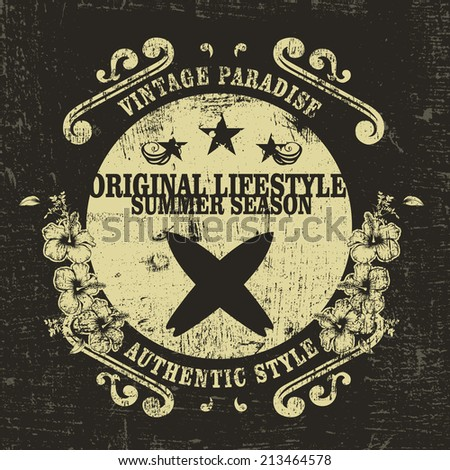 original lifestyle summer season grunge surf shield - stock vector