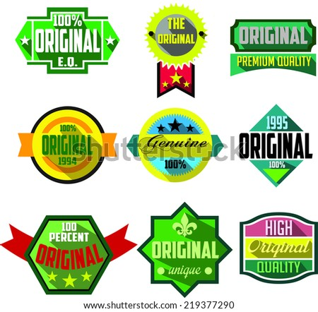 Original logo badges and labels