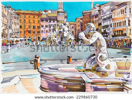 original marker painting of Rome Italy cityscape for your travel card design, architectural details of Fontana del Moro or Moro Fountain. Piazza Navona - stock vector