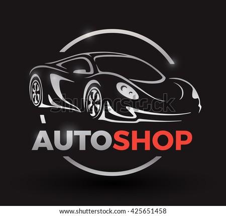 Modern Sports Car Logo Racing Supercar Stock Vector
