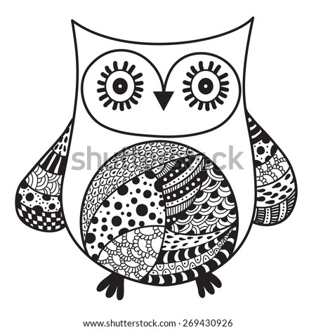 Original owl artwork ink hand drawing in ethnic style collection vector illustration in black