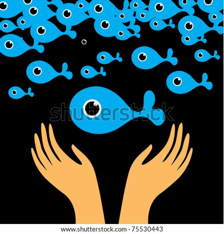 Original Poster - caring for the environment. Save the Sea! - stock vector