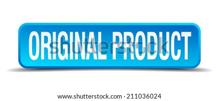 original product blue 3d realistic square isolated button - stock vector