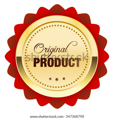 Original product seal or icon. Glossy golden seal or button with stars and red color.