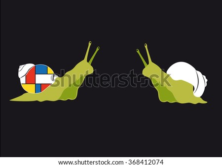 Original snail. Be different! Funny snail, who is not afraid of change. Vector black background. Cute vector illustration. Cartoon Character snail. Black background with a snail. Illustration snails - stock vector