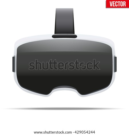 Original stereoscopic 3d vr headset with visualization on surface. White model. Front view. Vector illustration Isolated on white background.