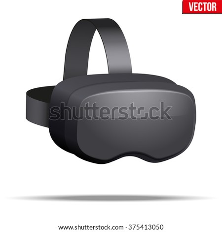 Original stereoscopic 3d vr mask with headphones. Perspective view. Vector illustration Isolated on white background.  - stock vector