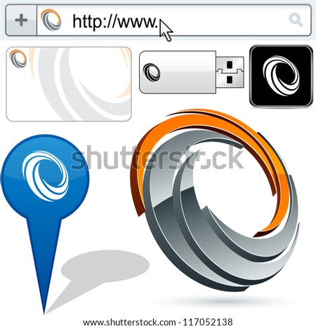 Original vector curl emblems represented in different usages. - stock vector