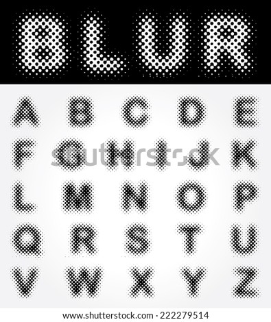 original vector dotted raster font  - stock vector