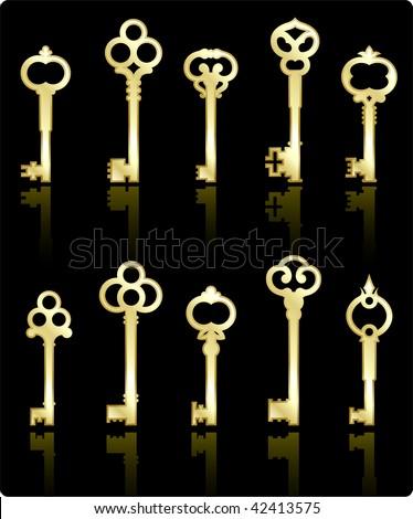 Original vector illustration: antique keys collection - stock vector