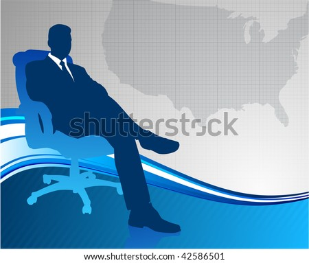Original Vector Ilration Business Executive On Us Map Background Ai8 Compatible