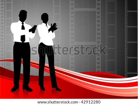 Original Vector Illustration: business team clapping on film reel background  AI8 compatible
