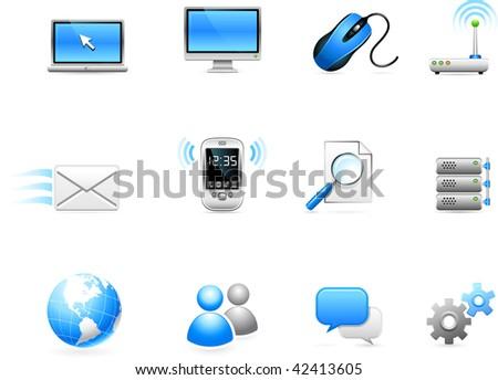 Original vector illustration: Communication technology icon collection - stock vector