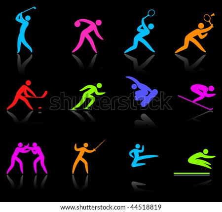 Original vector illustration: competitive sports icon collection - stock vector