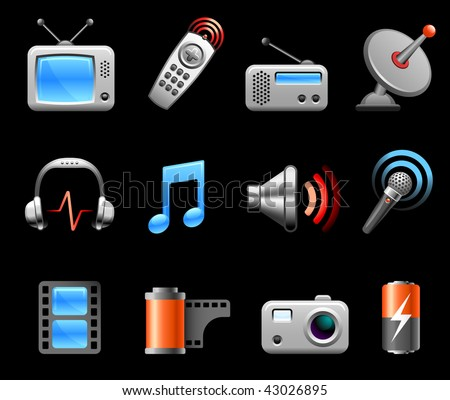 Original vector illustration: Electronics and Media icon collection - stock vector