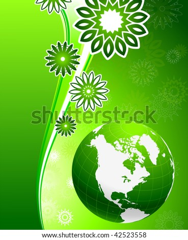 Original Vector Illustration: Green floral wave background with Globe AI8 compatible