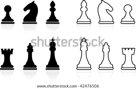 Original vector illustration: Simple Chess set collection - stock vector