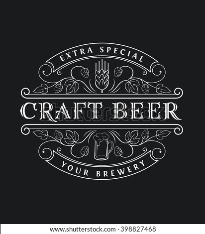 Original vintage badge logo design template for beer house, bar, pub, brewing company, brewery, tavern, taproom, alehouse, beerhouse, restaurant with custom lettering - stock vector