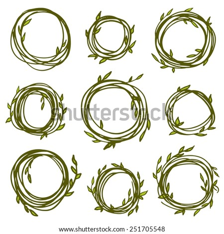 Original vintage frames - set of 9 hand drawn floral branches. Retro wreath for your design - stock vector
