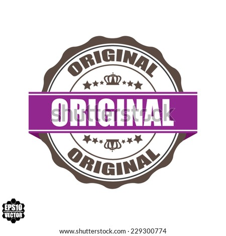 Original Word On Label And Stamp Vintage Style With Crown, Stars And Violet Ribbon, Special Promotion For Customer - Vector illustration. - stock vector