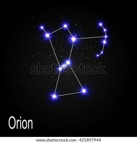 Orion Constellation with Beautiful Bright Stars on the Background of Cosmic Sky Vector Illustration EPS10 - stock vector