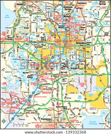 orlando map stock images, royalty free images & vectors shutterstock Map Of Orlando Area orlando, florida area map map of orlando area