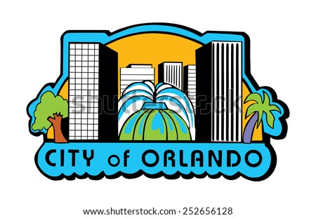 Orlando, Florida (USA) flag vector, shield of Orlando city, original and simple Orlando city flag isolated vector in official colors and Proportion Correctly  - stock vector