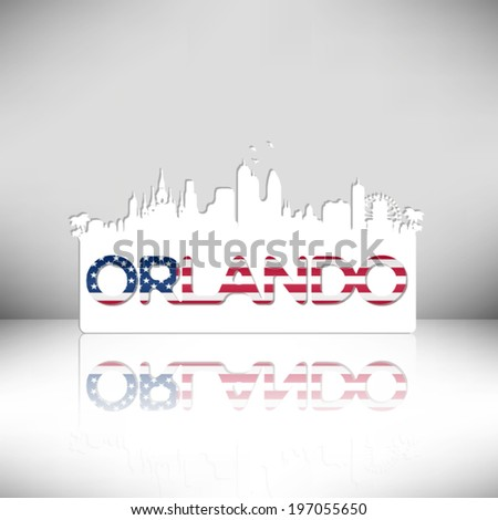 Orlando USA skyline silhouette vector design. Greeting card illustration. - stock vector