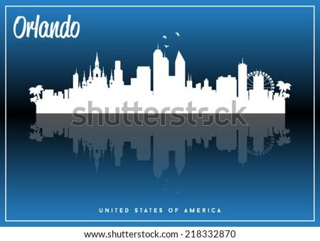 Orlando, USA skyline silhouette vector design on parliament blue background. - stock vector