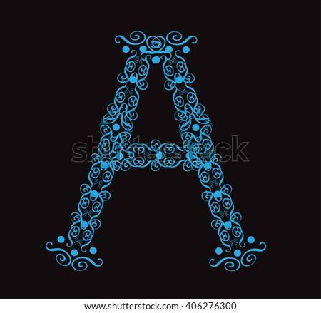 Ornament alphabet fonts neon letter A - stock vector