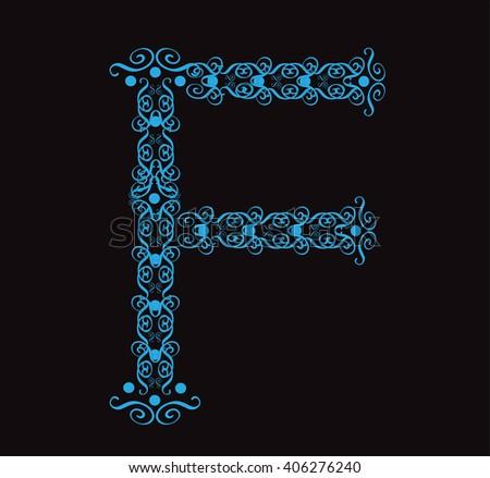 Ornament alphabet fonts neon letter F - stock vector