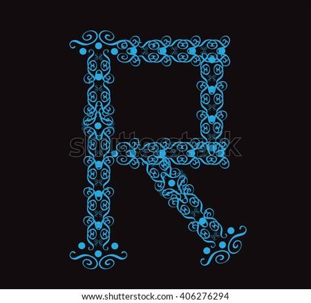 Ornament alphabet fonts neon letter R - stock vector