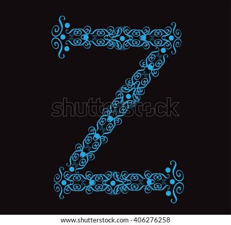 Ornament alphabet fonts neon letter Z - stock vector