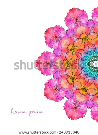 Ornament beautiful card with mandala. Geometric circle element made in vector. Perfect cards for any other kind of design, birthday and other holiday, kaleidoscope,  Watercolor, yoga, india, arabic