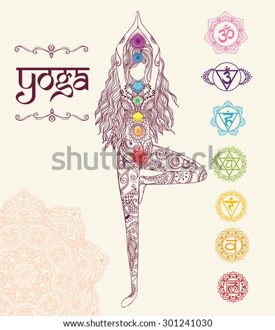 Ornament beautiful card with Vector yoga. Geometric element hand drawn. Perfect  cards for any other kind of design, birthday and other holiday, kaleidoscope,  medallion, yoga, india, arabic - stock vector