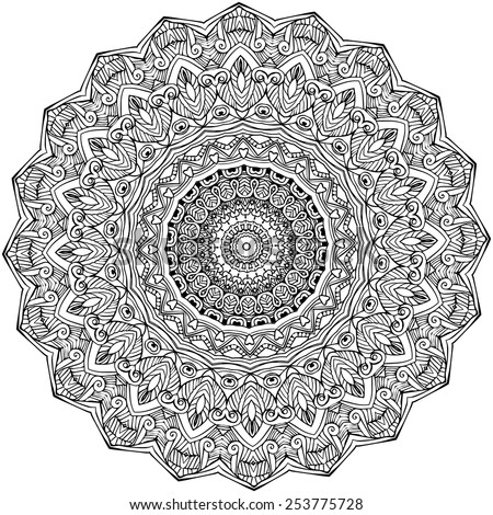 Ornament black white card with mandala. Geometric circle element made in vector. Perfect  cards for any other kind of design, birthday and other holiday, kaleidoscope,  medallion, yoga, india, arabic - stock vector