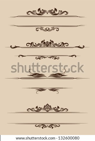 Ornament Border Set - stock vector
