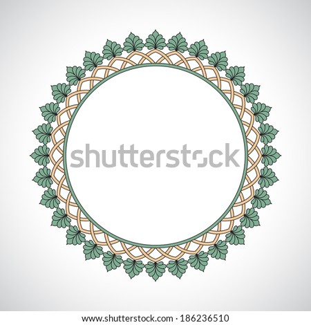 Ornament circle green palmetta beige - stock vector
