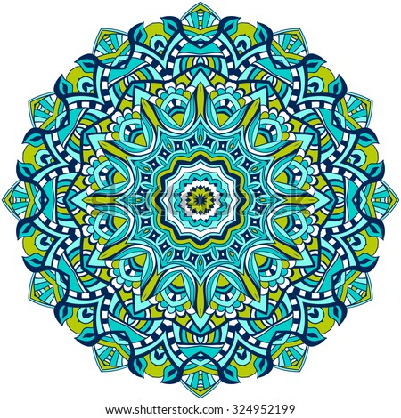 Ornament Color Card Mandala Vintage Decorative Stock Vector