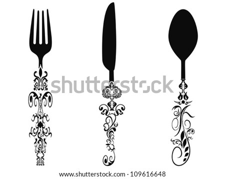 ornament cutlery set - stock vector