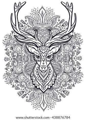 Adult reindeer stock images royalty free images vectors for Deer coloring pages for adults