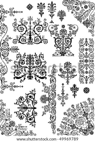 ornament elements collection isolated on white background - stock vector