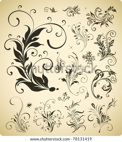 ornament elements collection, vector design - stock vector