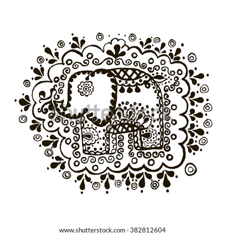 Ornament elephant isolated on white background. Vector illustration