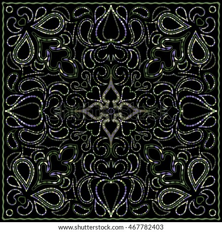 Ornament for scarf with color pattern on black background. You can use for carpet, shawl, pillow, cushion. Vector illustration.