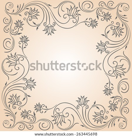 Ornament frame in gray color with blank copy space in the center. - stock vector