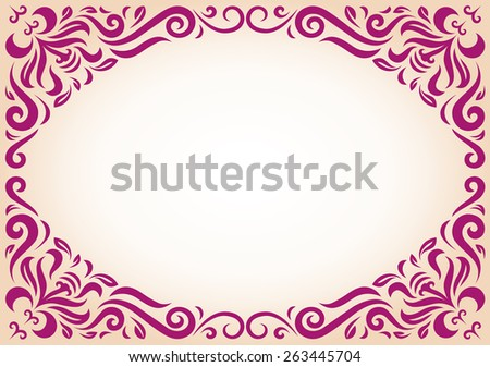 Ornament frame in maroon color with blank copy space in the center. - stock vector