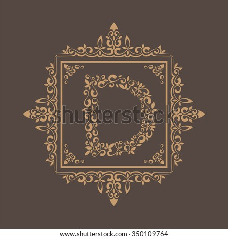 Ornament frame text d - stock vector