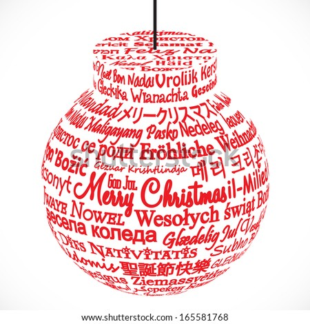 Ornament Made from Merry Christmas Translations - stock vector